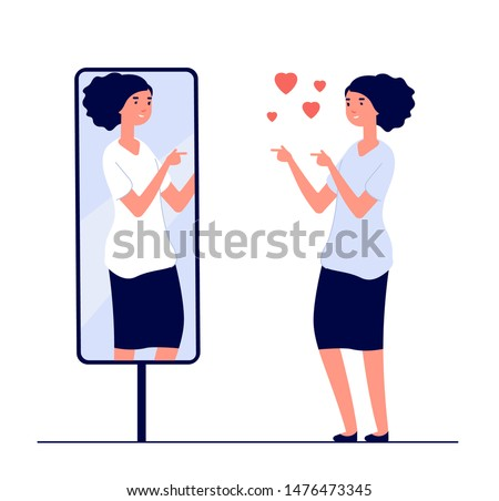 Woman at mirror. mirrored happy girl. cartoon reflected beautiful female narcissism and love of self vector concept. Illustration of woman look at mirror, happy character female ストックフォト ©
