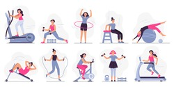 Woman at sport gym. Vector illustration set. Female run on treadmill, equipment for fitness in gym, workout people, training exercise collection