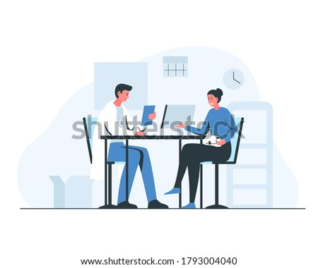Woman at the doctor's appointment. Vector concept illustration of a smiling girl and male doctor sitting and talking at the table in the office. Interior of a consulting room with doctor and patient