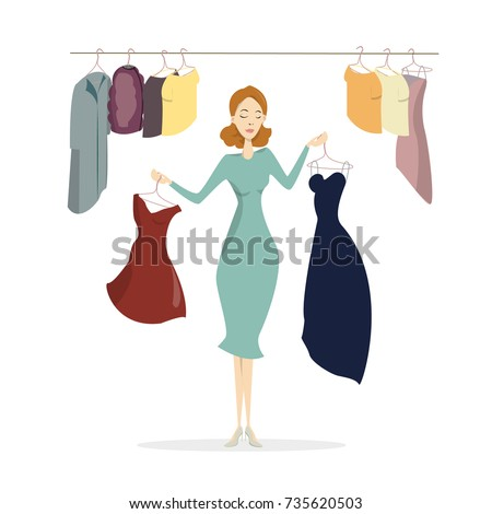 woman at wardrobe trying to