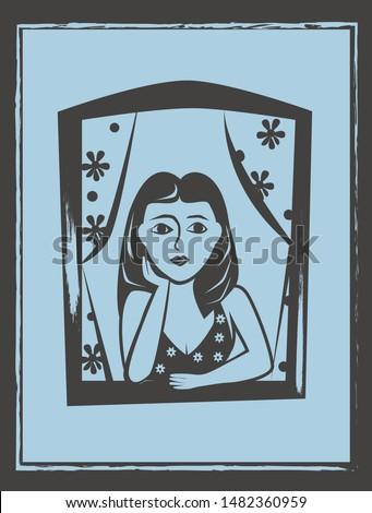 Woman at window vector. Brazilian woodcut style illustration.