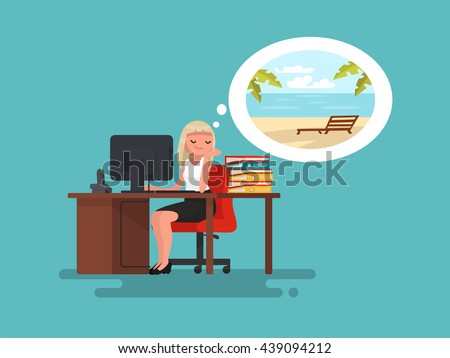 woman at work daydreaming about