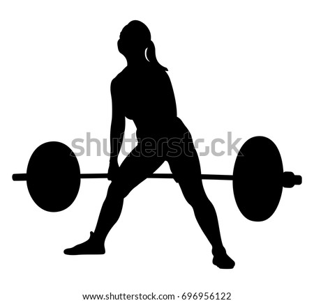 woman athlete powerlifter exercise deadlift black silhouette
