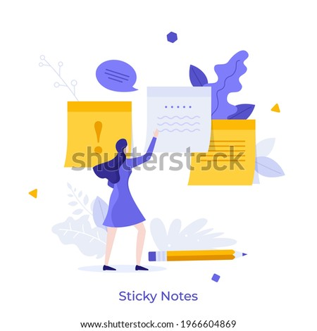 Woman attaching paper sticky notes to surface. Concept of adhesive written notification, information message, comment, reminder for work. Modern flat colorful vector illustration for banner, poster. Photo stock ©