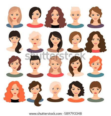 Woman avatar set vector illustration. Beautiful young girls portrait with different hair style isolated on white background
