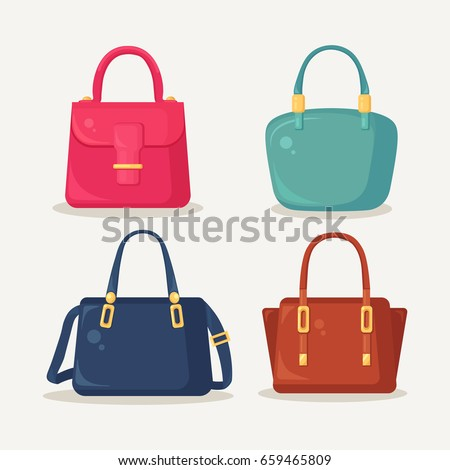 Woman bag. Ladies handbags isolated on white background. Fashion accessories with long and short handles, pockets and buckles. Vector illustration. Flat style design