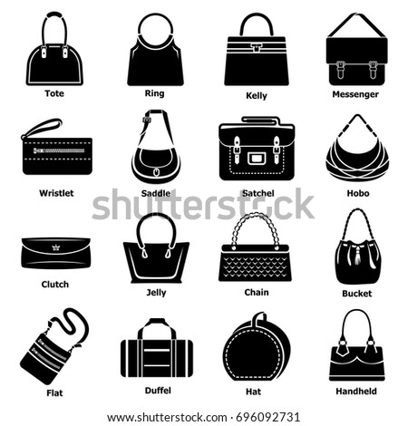 Woman bag types icons set. Simple illustration of 16 woman bag types vector icons for web