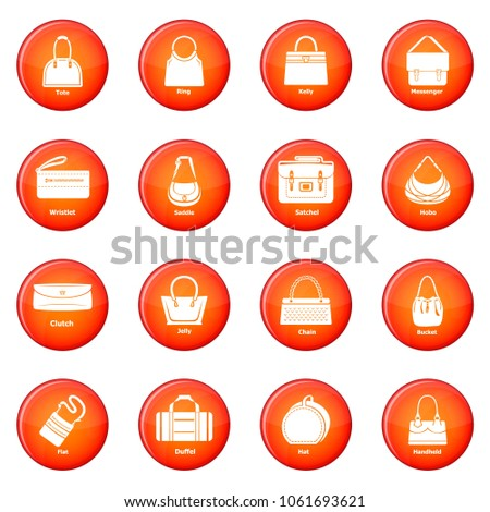 woman bag types icons set