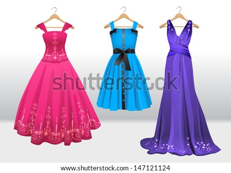 woman beautiful dresses on