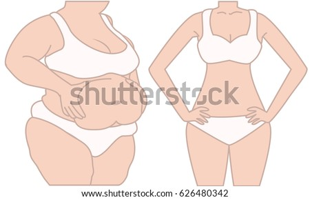 Woman before and after diet weigh loss. Fat and slim woman. Woman pinches the stomach. Women weight loss success.  Transformation