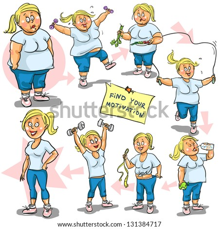 Woman before and after weight loss program. Hand drawn funny cartoon characters, sketch, isolated