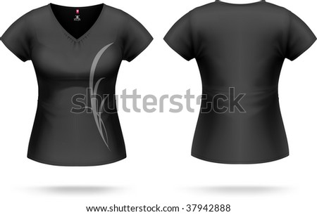 Woman black T-shirt with triangle collar & sample print design (can be easily removed). Vector, contains gradient mesh elements, highly detailed.