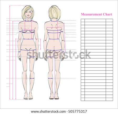Woman body measurement chart  Scheme… Stock Photo 505775314