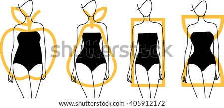 Woman body shapes. Apple, pear, hourglass, rectangle types icon. Vector illustration