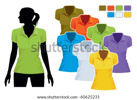 Woman body silhouette with colorful collection of polo shirts - stock vector