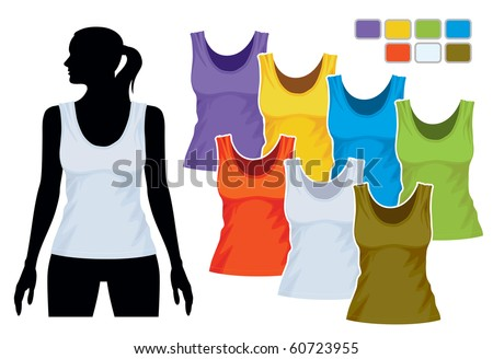 Woman body silhouette with colorful collection of sleeveless shirts