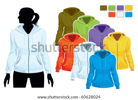 Woman body silhouette with colorful collection of sweatshirts