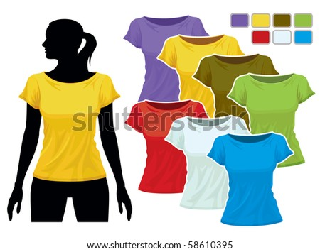 Woman body silhouette with colorful collection of t-shirts