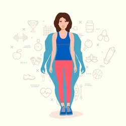 Woman Body Transformation Concept. Woman before and after diet or weight loss. Fitness design template. Set of sport and health line icons in background.