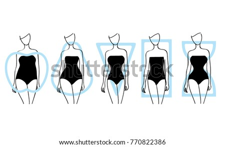 Woman body types. Apple, pear, triangle, rectangle, hourglasses shapes. Vector