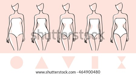 Woman body types. Round, triangle inverted triangle, rectangle shapes.  Female body shapes. Beauty vector illustration.