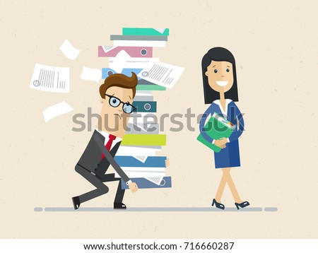 Woman boss and male subordinate. The male in glasses bringing a pile of documents and woman goes ahead of him. Vector, illustration, flat