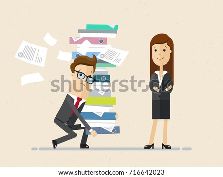 Woman boss and male subordinate. The male in glasses bringing a pile of documents and woman stand nearby. Vector, illustration, flat