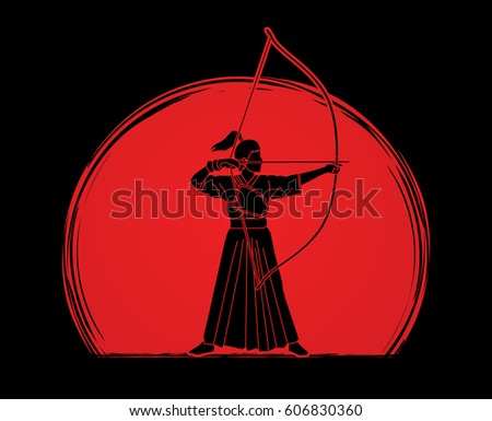 woman bowing kyudo designed on