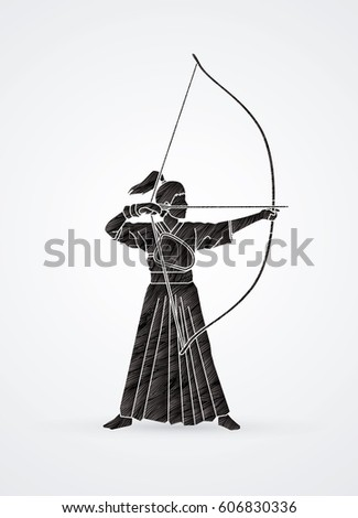 woman bowing kyudo designed