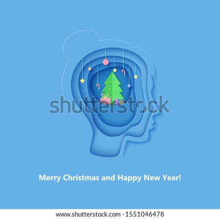 Woman brainstorm head in paper cut style. Silhouette of layered human with think of Christmas gift. Origami creative vector concept profile with New Year decorations on the depth of layers cardboard
