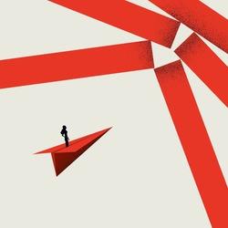 Woman breaking barrier, overcome challenge vector concept. Symbol of strength, leadership. Minimal illustration. Eps10 design.
