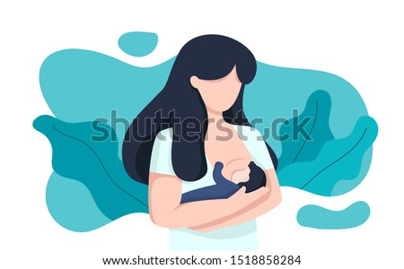 woman breastfeeding her newborn baby holding in hands around floral leaves. Lactation. Breast feeding week, happy mother day clip art. Child drinks milk from the female breast.  A children's room.