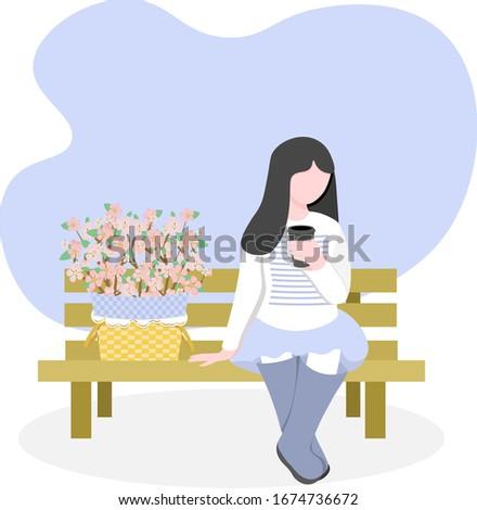 woman brunette sitting  on wood