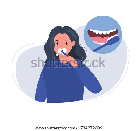 Woman brushes teeth with toothbrush. How to brush teeth correctly. Smiling mouth with healthy teeth. Oral hygiene and dental  procedures concept. Cute vector illustration in flat