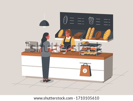 Woman Buying Coffee and Bread in Bakery Shop.  Baker Standing at Cashier Desk. Shelves  full of Breads, Baguettes and Various Bakery Products. People in Cafe. Flat Cartoon Vector Illustration.