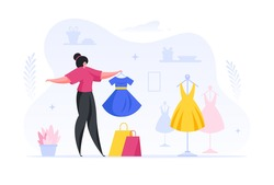 Woman buying new fashionable dress in store cartoon illustration. Contented female character admires stylish blue sundress bought at sale. Elegant evening gowns hang on special vector hangers.