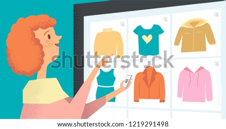 Woman buys using app on smartphone. Virtual shopping. Technology of future. Vector flat illustration of girl who chooses clothes and makes purchases through qr code.
