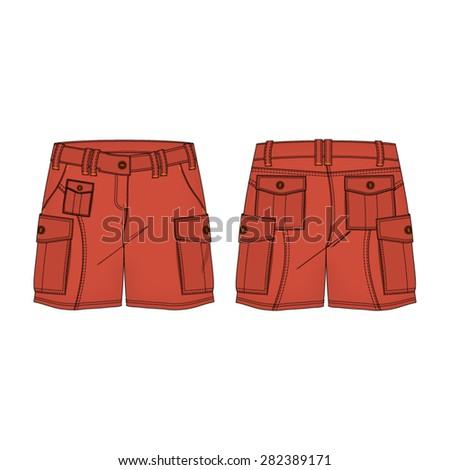 woman cargo shorts vector