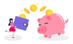 Woman carry a money wallet while golden coins floating into the piggy bank. Creative financial concept of savings. Simple trendy cute cartoon vector illustration. Flat style graphic design element.