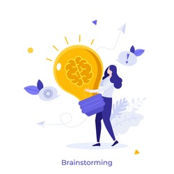 Woman carrying glowing lightbulb with brain inside. Concept of brainstorming, power of intelligence, creative thinking, innovative idea generation. Modern flat colorful vector illustration for banner.