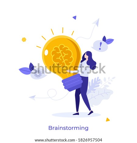 Woman carrying glowing lightbulb with brain inside. Concept of brainstorming, power of intelligence, creative thinking, innovative idea generation. Modern flat colorful vector illustration for banner. Foto stock ©