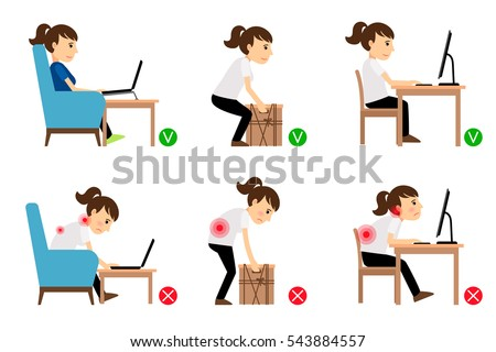 Woman cartoon character sitting and working correct and incorrect postures. Vector illustration