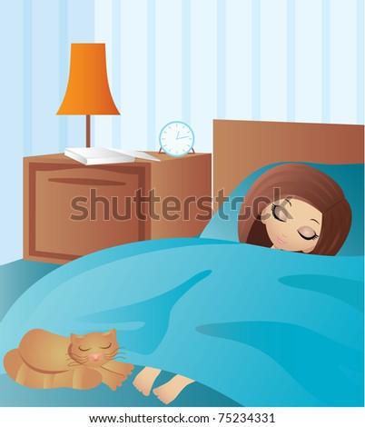 Woman cartoon sleeps.  vector, gradient, colour full
