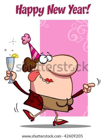 Woman Celebrating Happy New