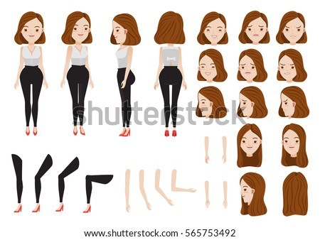 woman character creation set. Icons with different types of faces and hair style, emotions,  front, rear, side view of female person. Moving arms, legs. Vector illustration