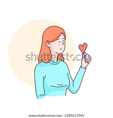 Woman character holding loving heart in her hand. Sending love message to beloved one. Flat style linear clipart illustration. Isolated vector on white background. Valentine's day card design template