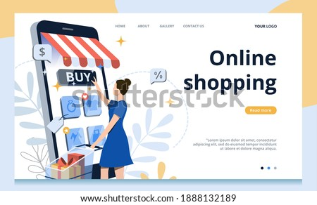 Woman character making online shopping via phone.Concept of flat vector illustration for landing page,banner,poster,website,UI.Big sale in Online store.Stay home.Business template for M-Commerce