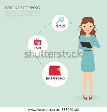 woman character shopping online in step flow. customer people character.