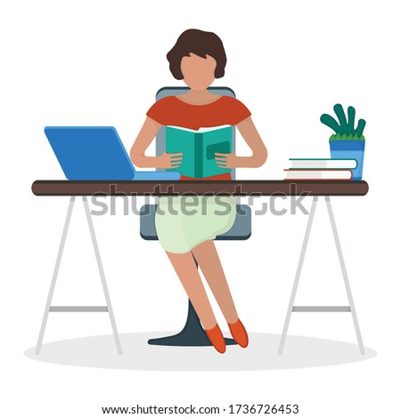Woman character sitting workplace table female read book and make job laptop computer freelance isolated on white, flat vector illustration. Cartoon design concept, surfing internet personal computer.