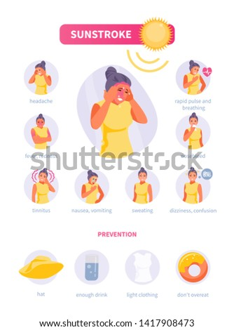 Woman character suffering from sunstroke. Symptoms and prevention of heat stroke. Medical vector infographics, poster